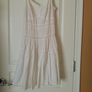 Dresses - La Chapelle White Cotton Lace Slip Dress